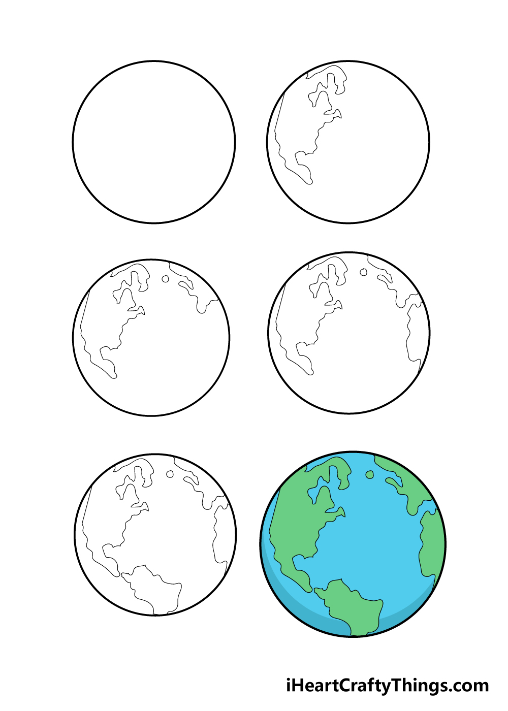how to draw earth in 6 steps
