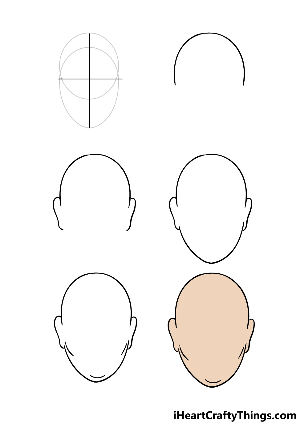how to draw face shape in 6 steps