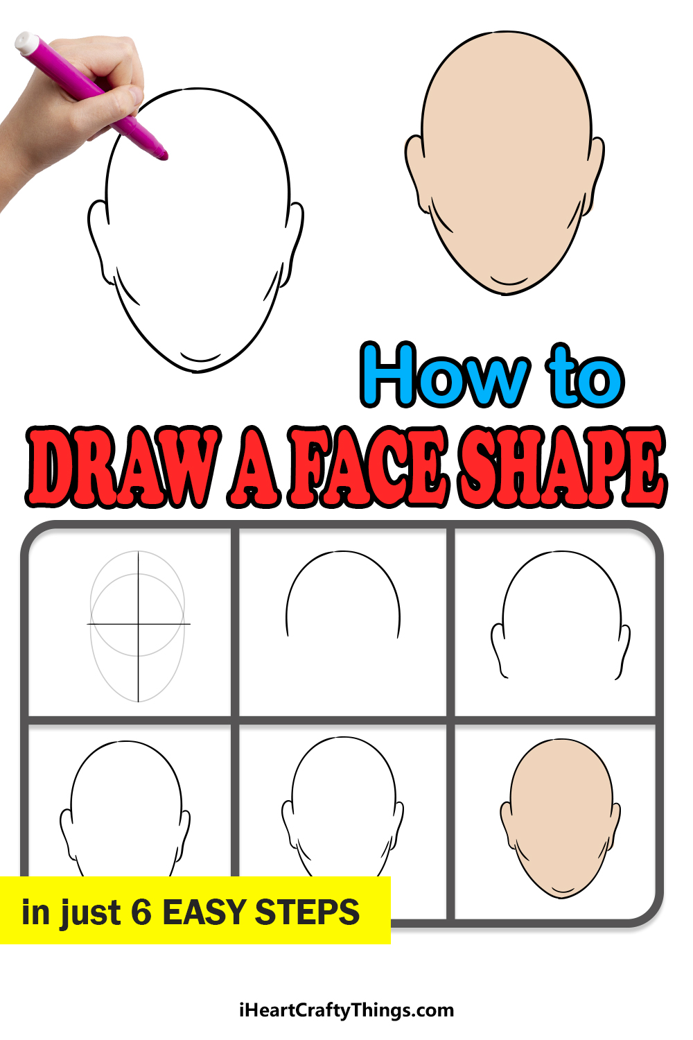 how to draw a face shape in 6 easy steps
