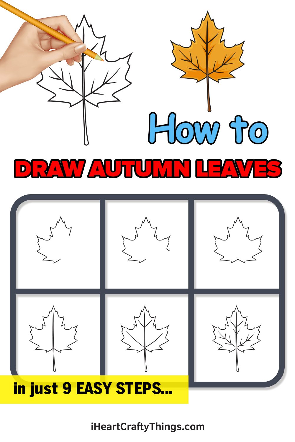 how to draw autumn leaves in 9 easy steps