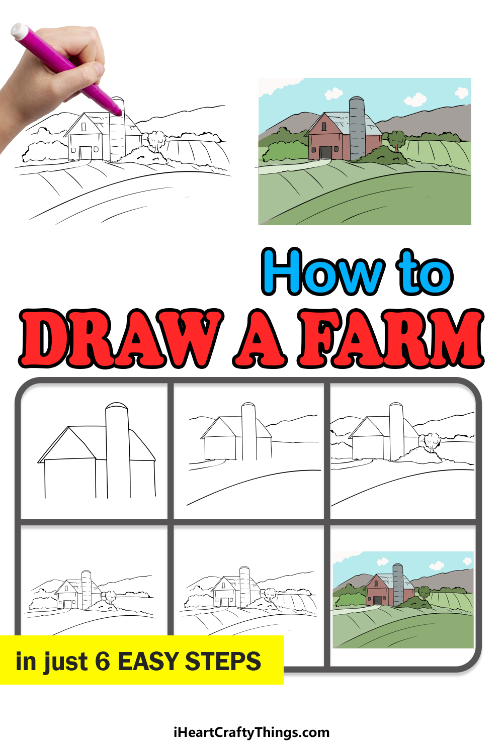 how to draw a farm in 6 easy steps