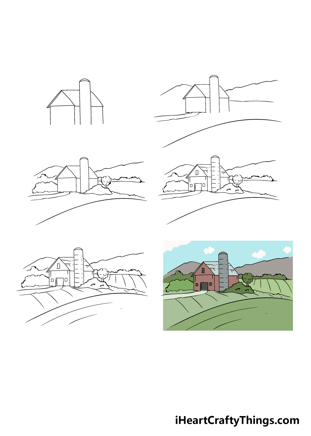 how to draw farm in 6 steps