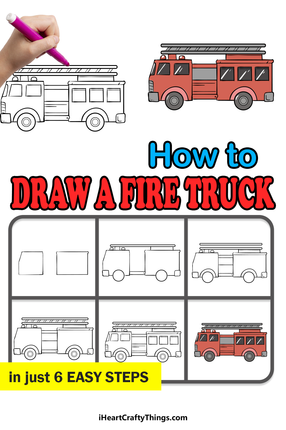 how to draw a fire truck in 6 easy steps