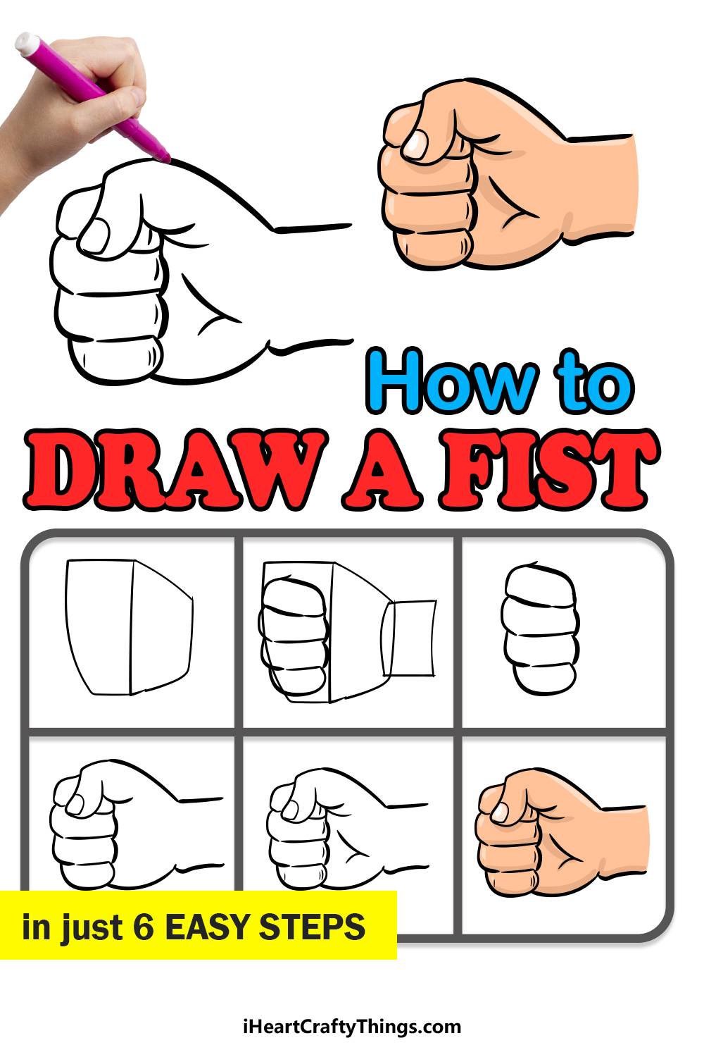 how to draw a fist in 6 easy steps