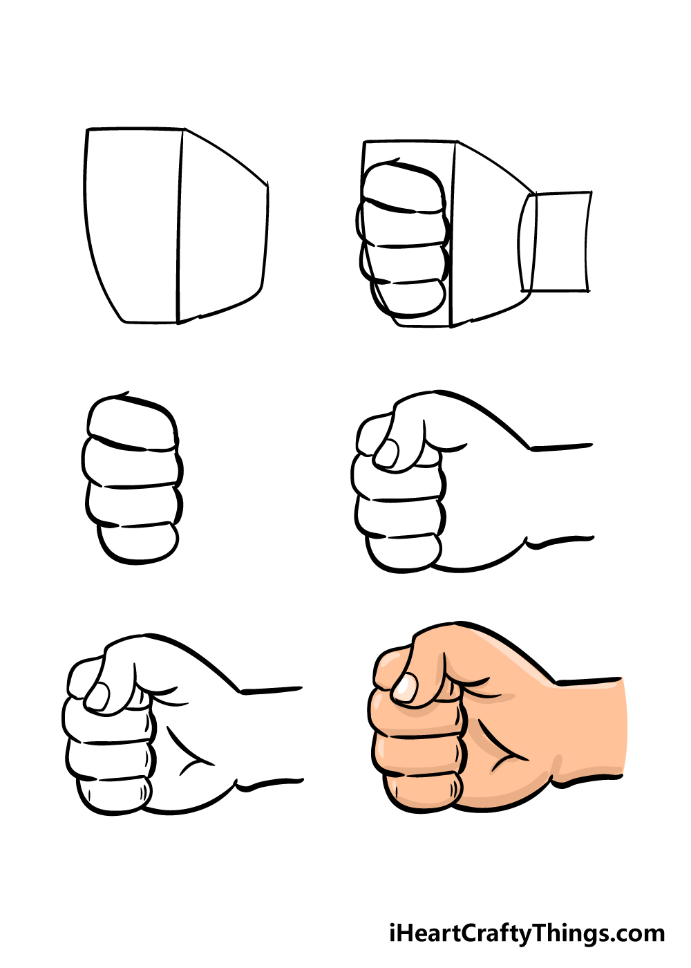 how to draw a fist in 6 steps
