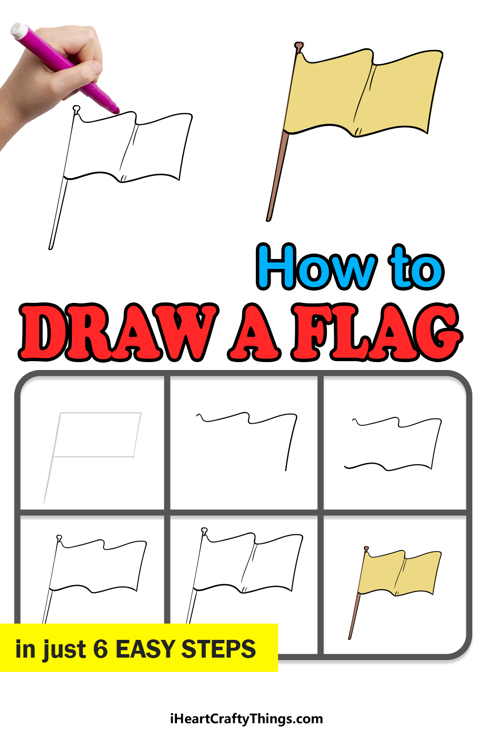 how to draw a flag in 6 easy steps