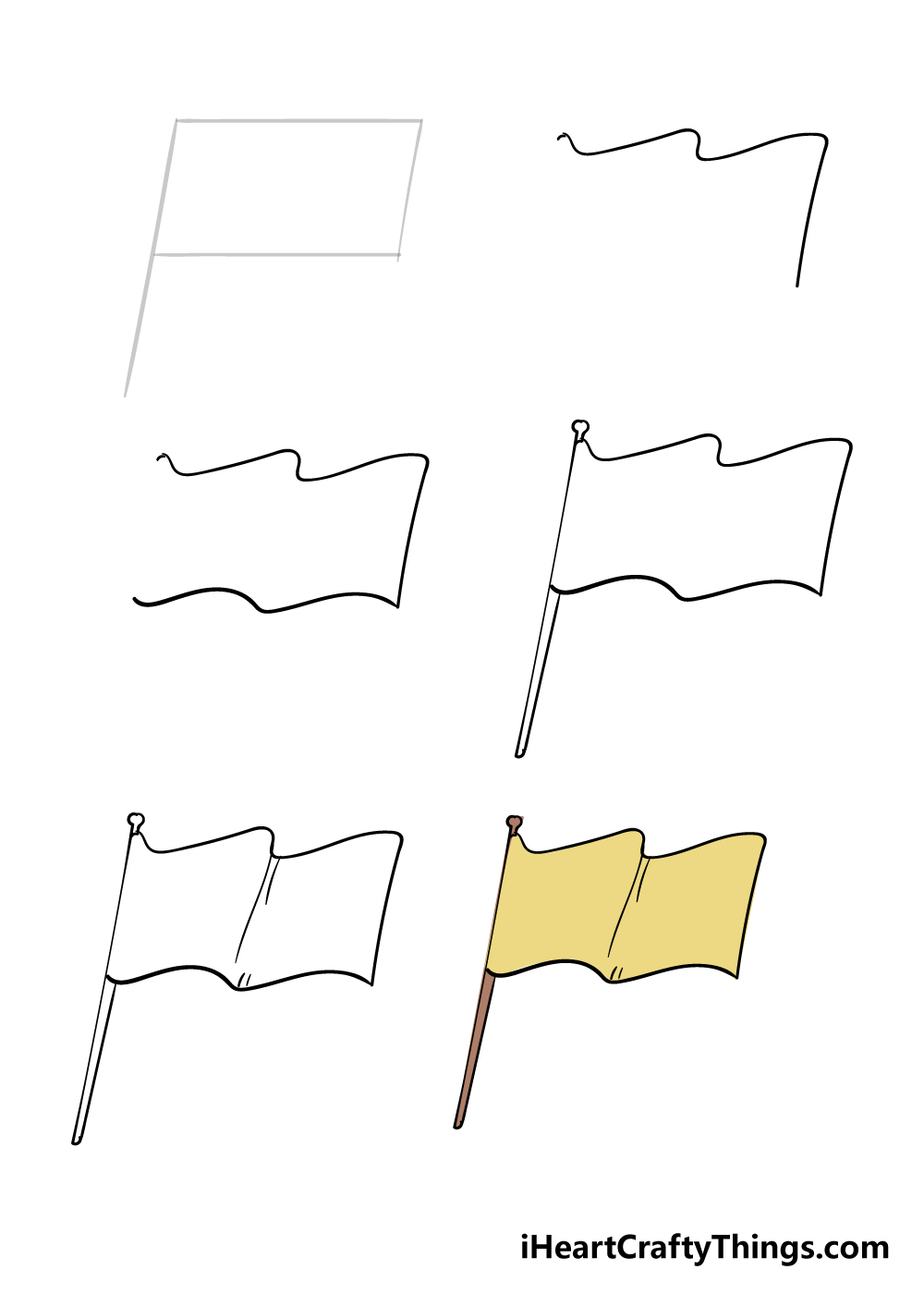 how to draw flag in 6 steps