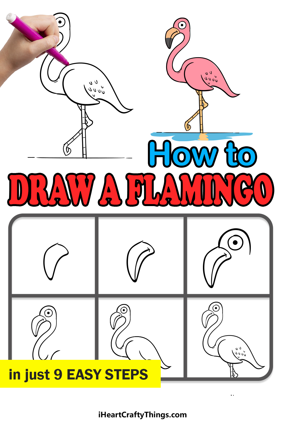 how to draw a flamingo in 9 easy steps