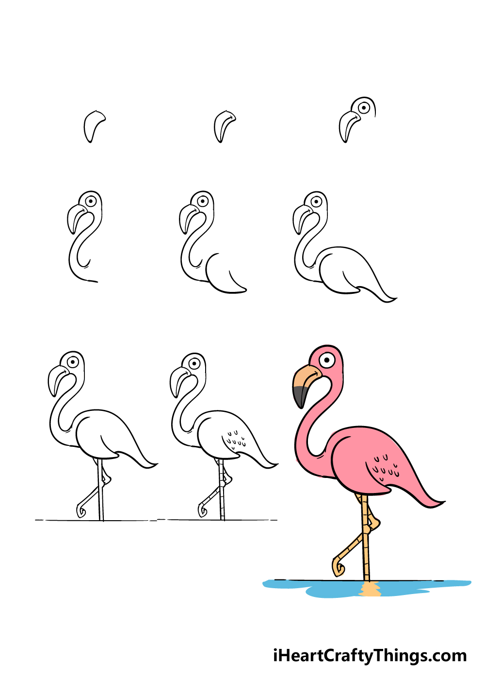how to draw flamingo in 9 steps