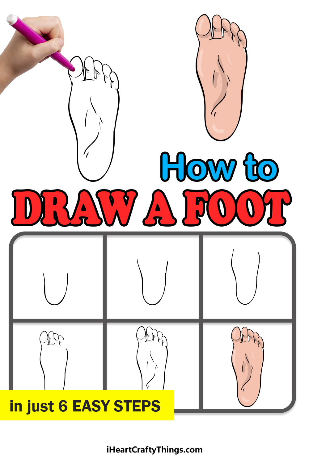 how to draw a foot in 6 easy steps