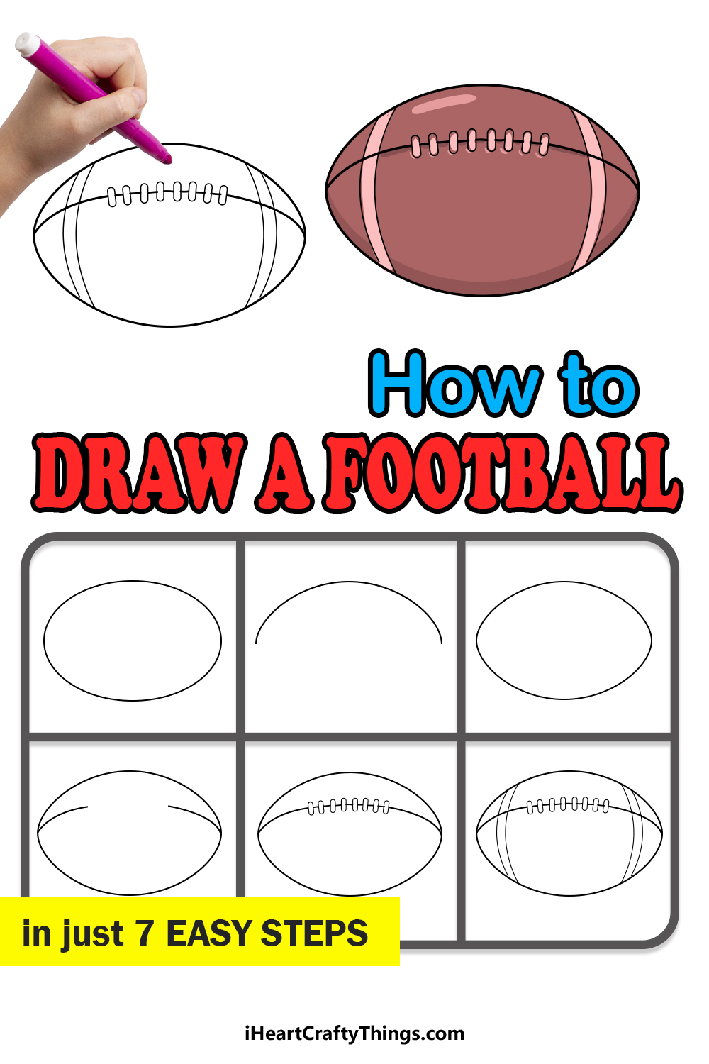 how to draw a football in 7 easy steps