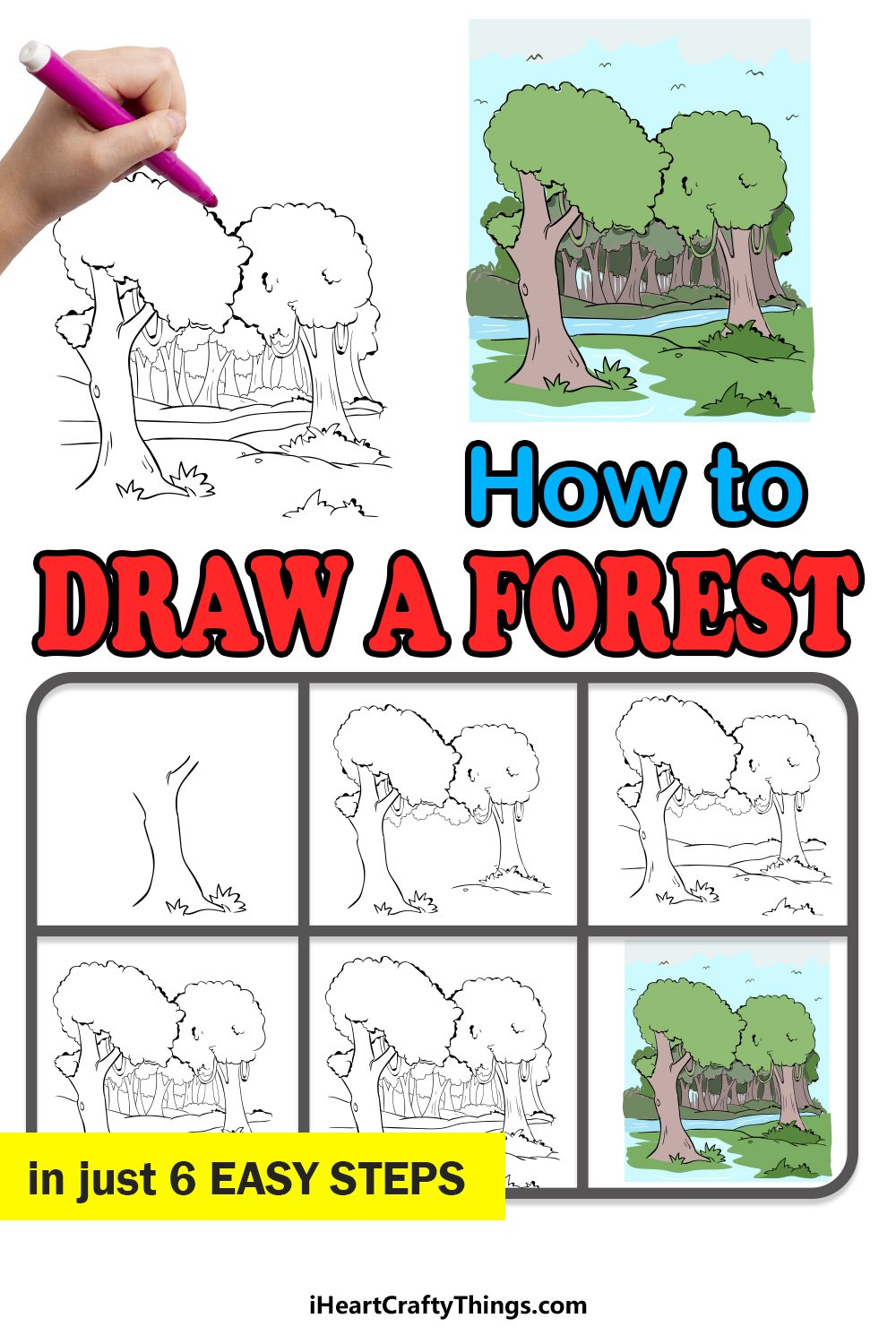 how to draw a forest in 6 easy steps