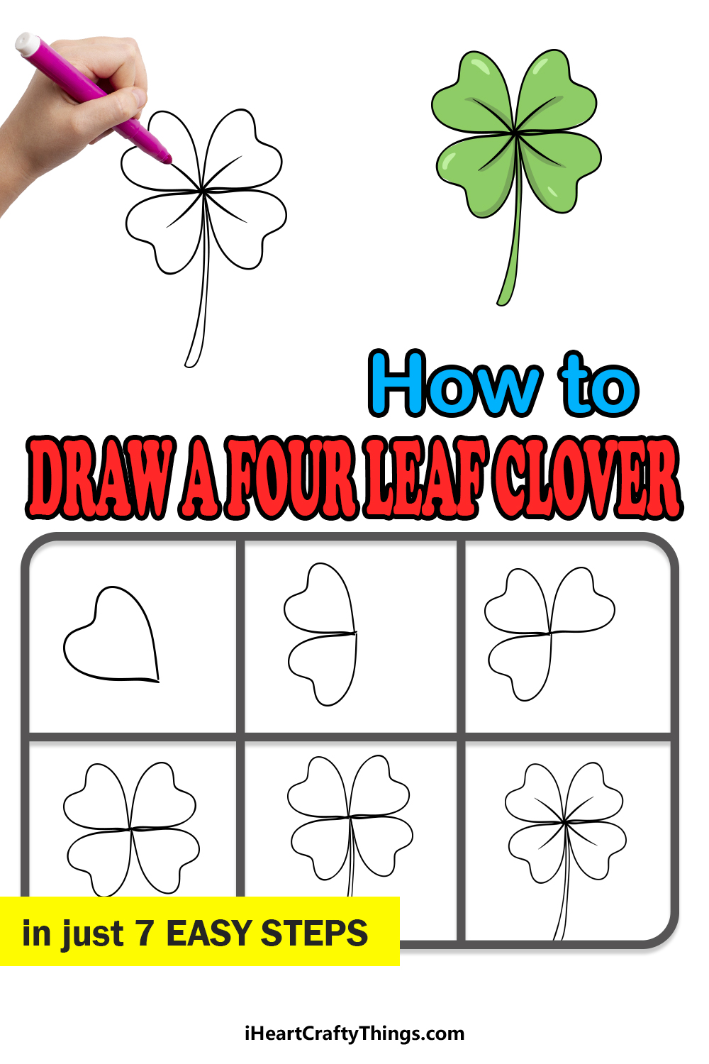 how to draw a four-leaf clover in 7 easy steps