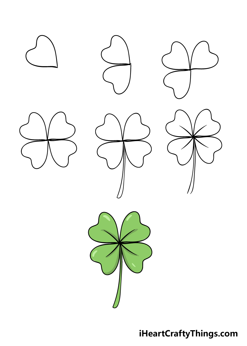 how to draw a four-leaf clover in 7 steps
