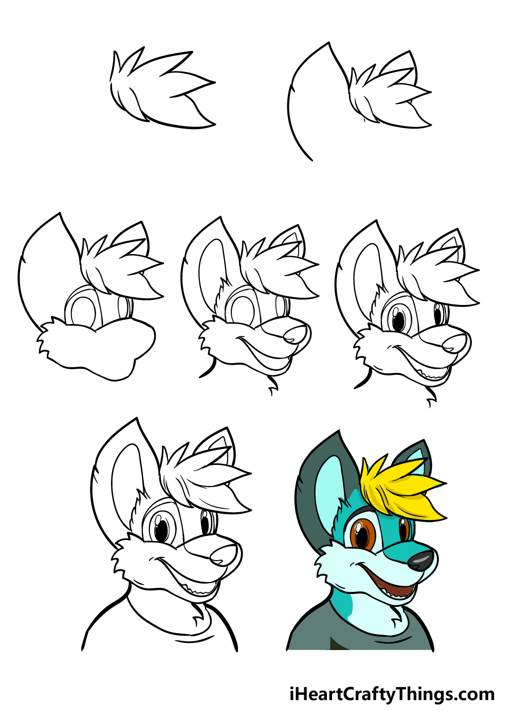 how to draw furry in 7 steps