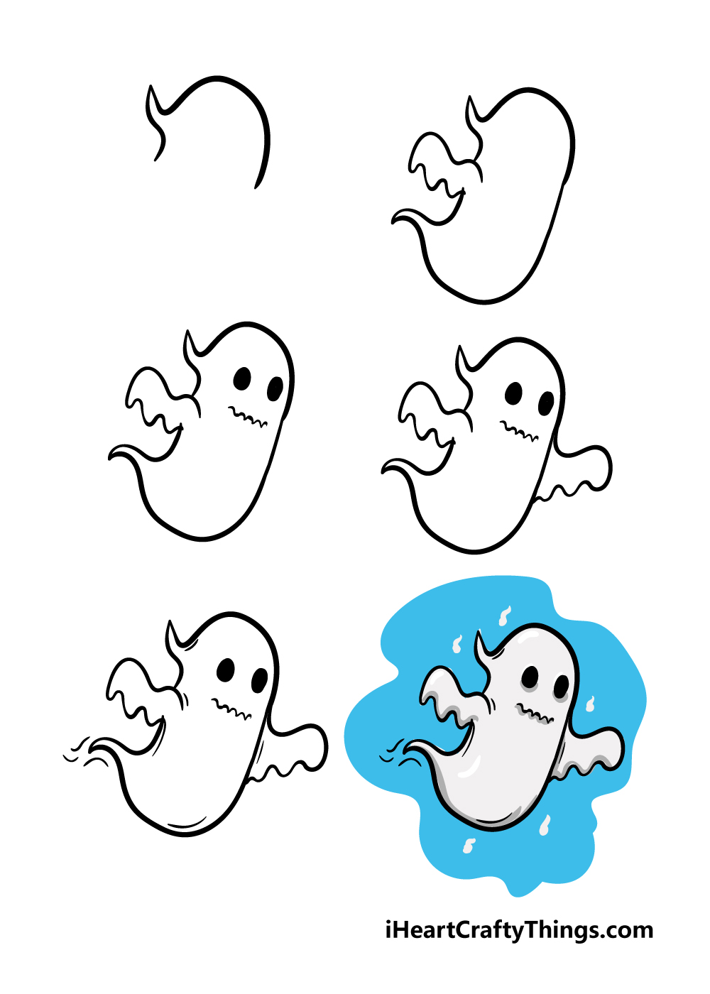 how to draw ghost in 6 steps