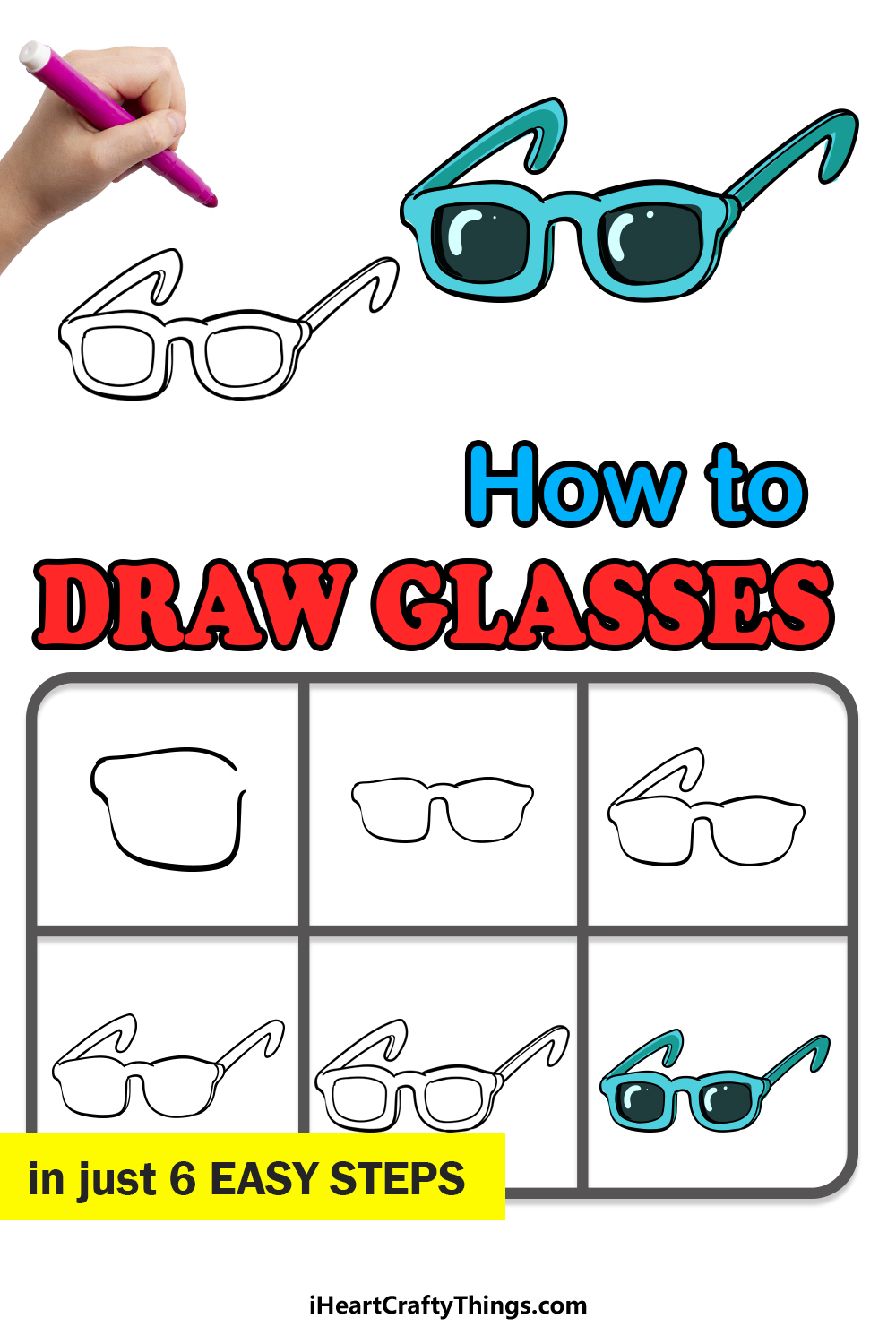 how to draw glasses in 6 easy steps