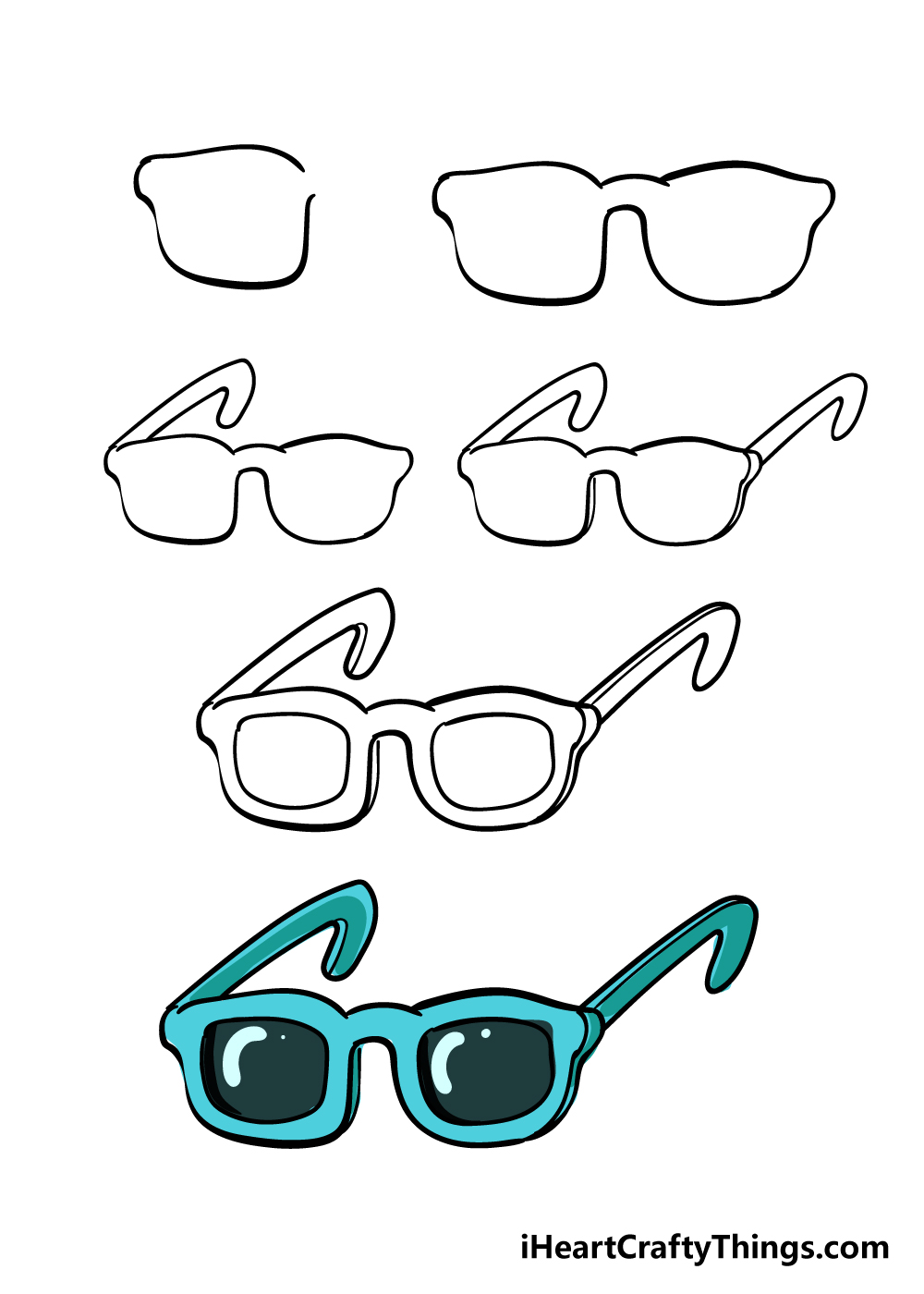 how to draw glasses in 6 steps