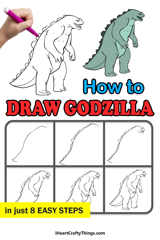 how to draw Godzilla in 8 easy steps