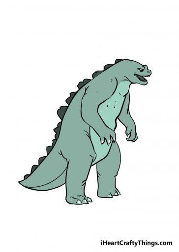 how to draw Godzilla image