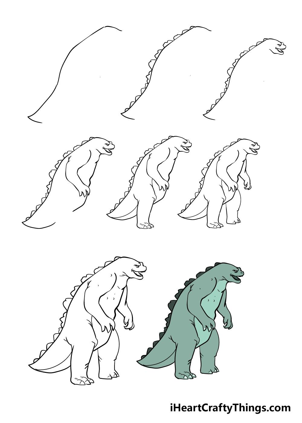 how to draw Godzilla in 8 steps