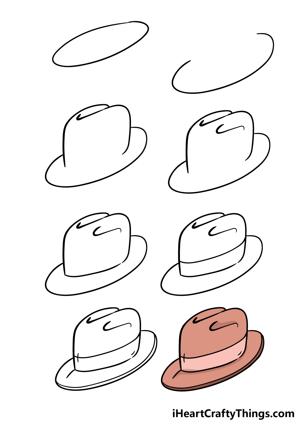 how to draw hat in 8 steps