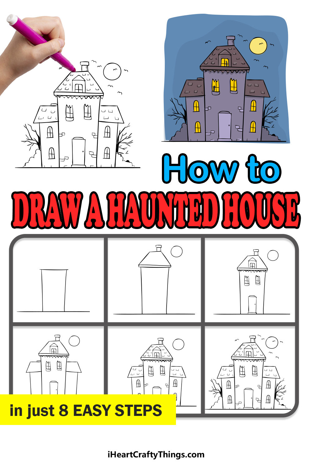 how to draw haunted house in 8 easy steps