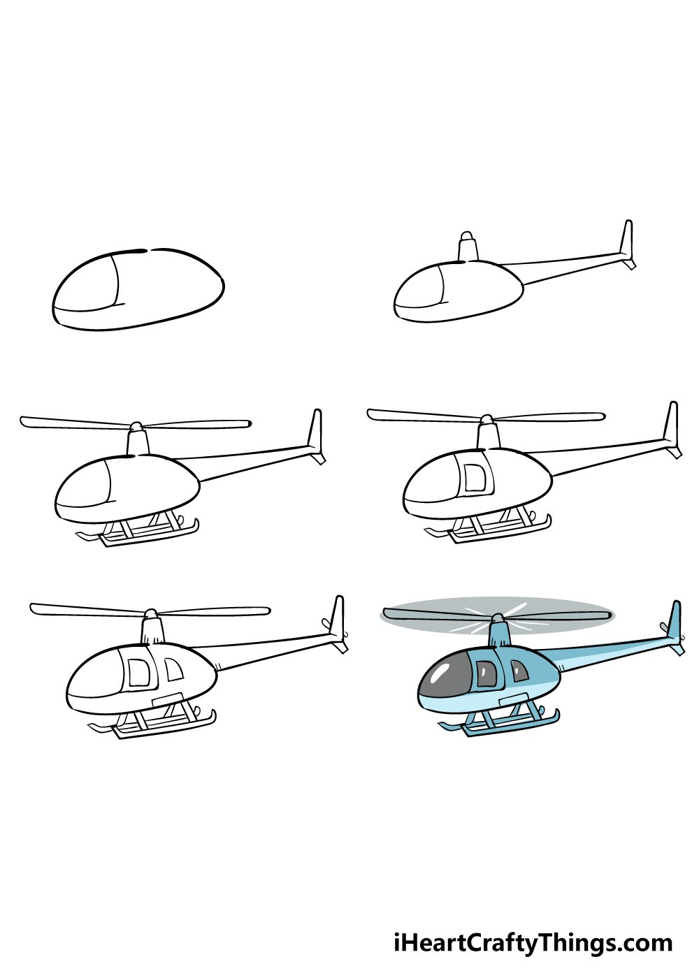 how to draw a helicopter in 6 steps