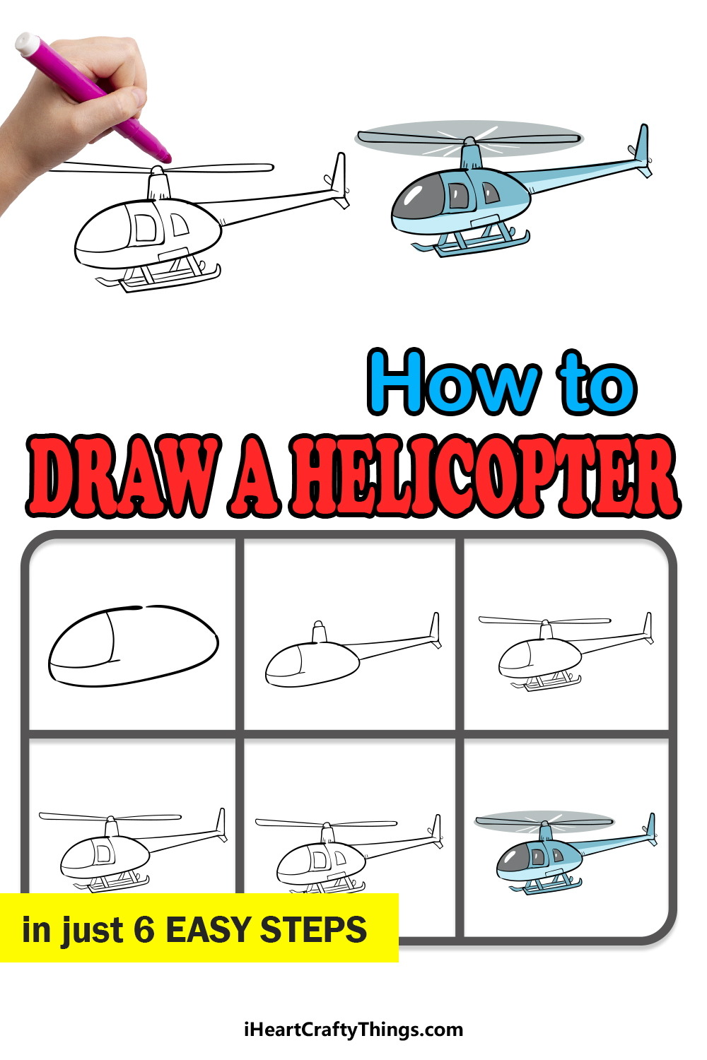 how to draw a helicopter in 6 easy steps