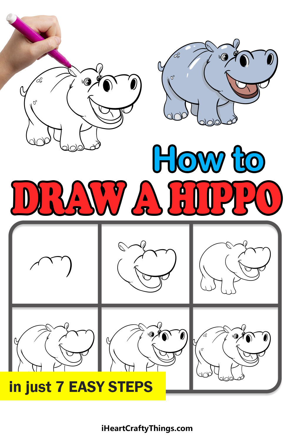 how to draw a hippo in 7 easy steps