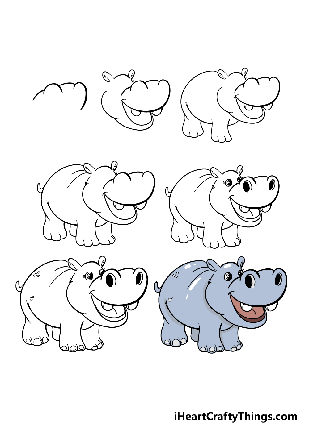 how to draw hippo in 7 steps