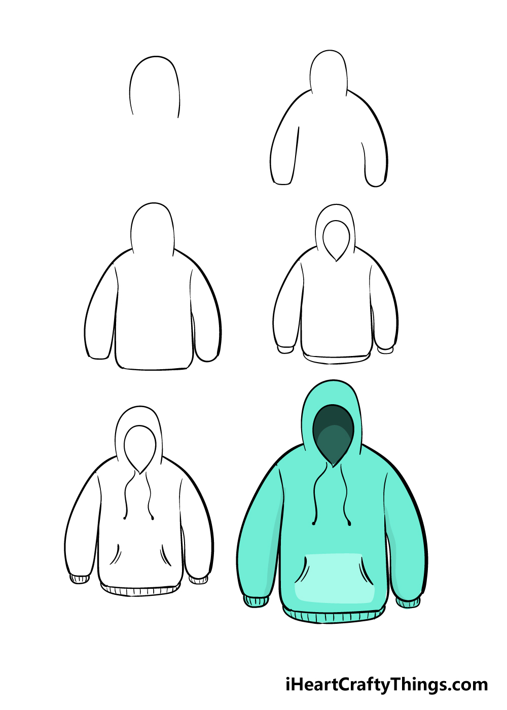 how to draw hoodie in 6 steps