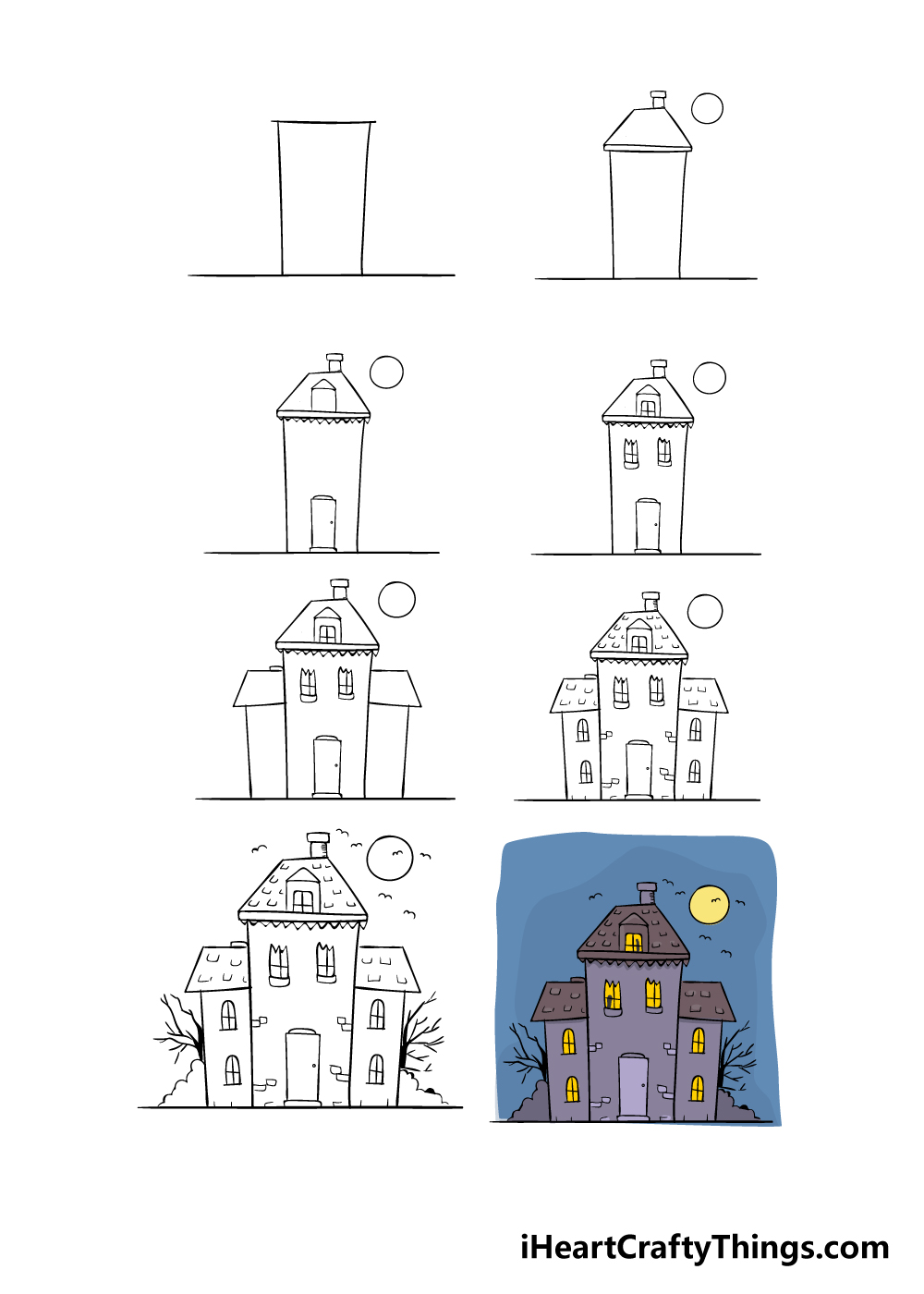 how to draw haunted house in 8 steps