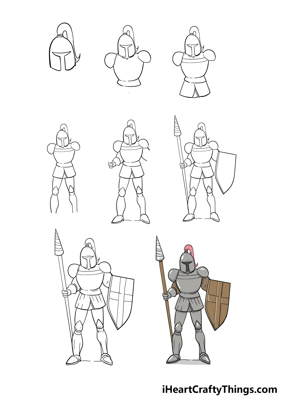 how to draw knight in 8 steps