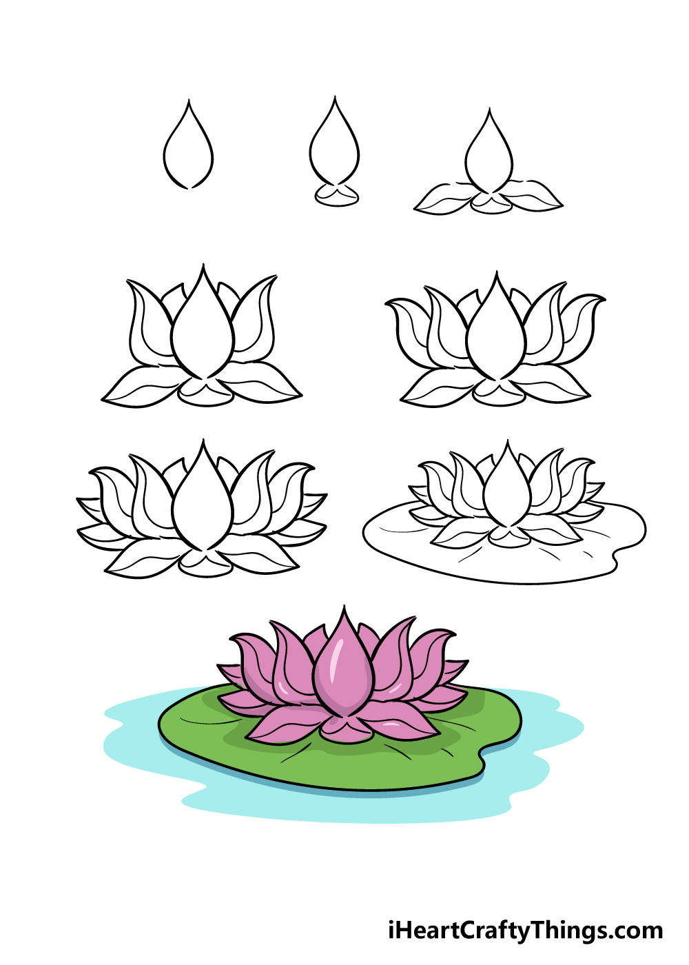 how to draw lotus in 8 steps