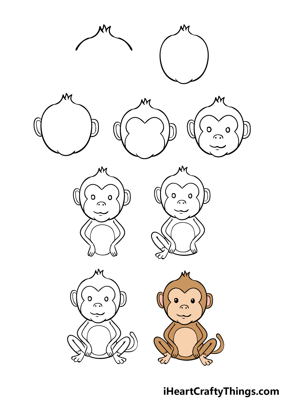 how to draw monkey in 9 steps