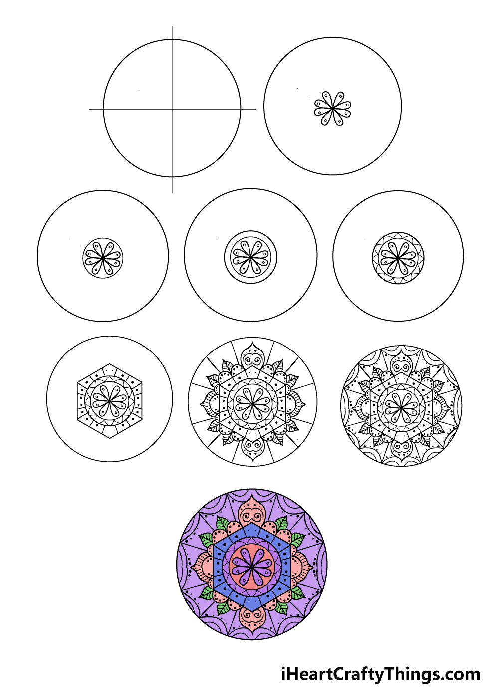 how to draw mandala in 9 steps