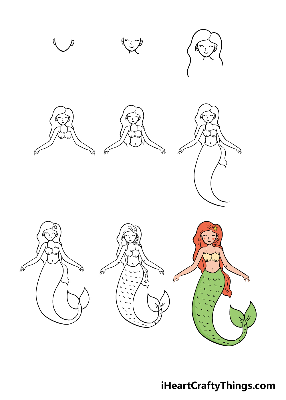 how to draw mermaid in 9 steps