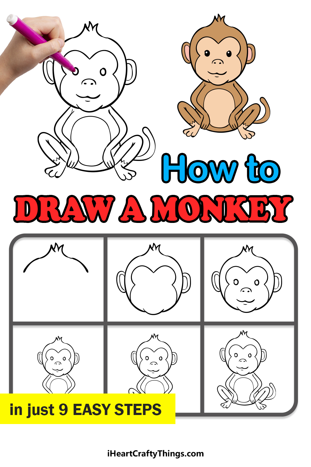 how to draw a monkey in 9 easy steps