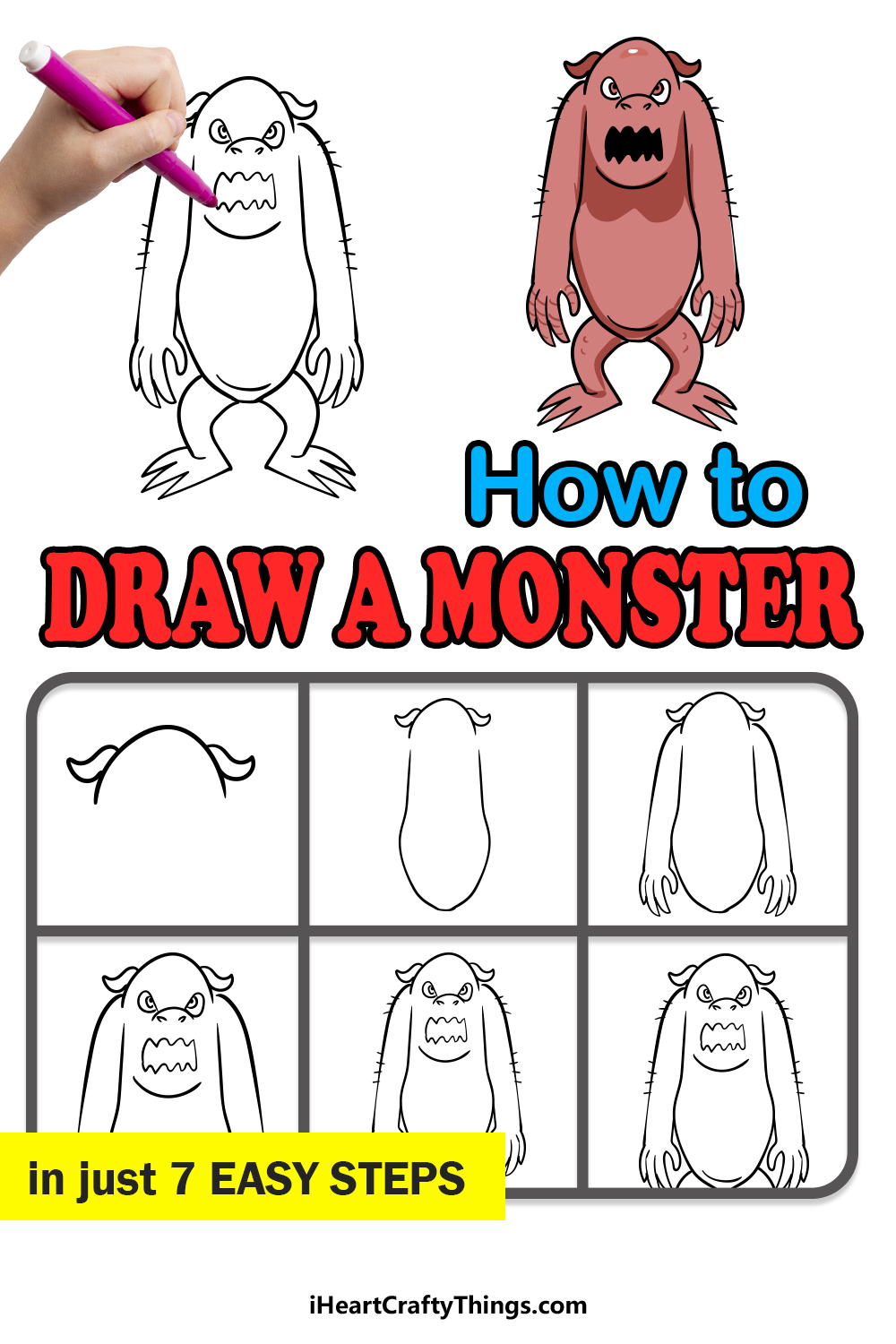 how to draw a monster in 7 easy steps