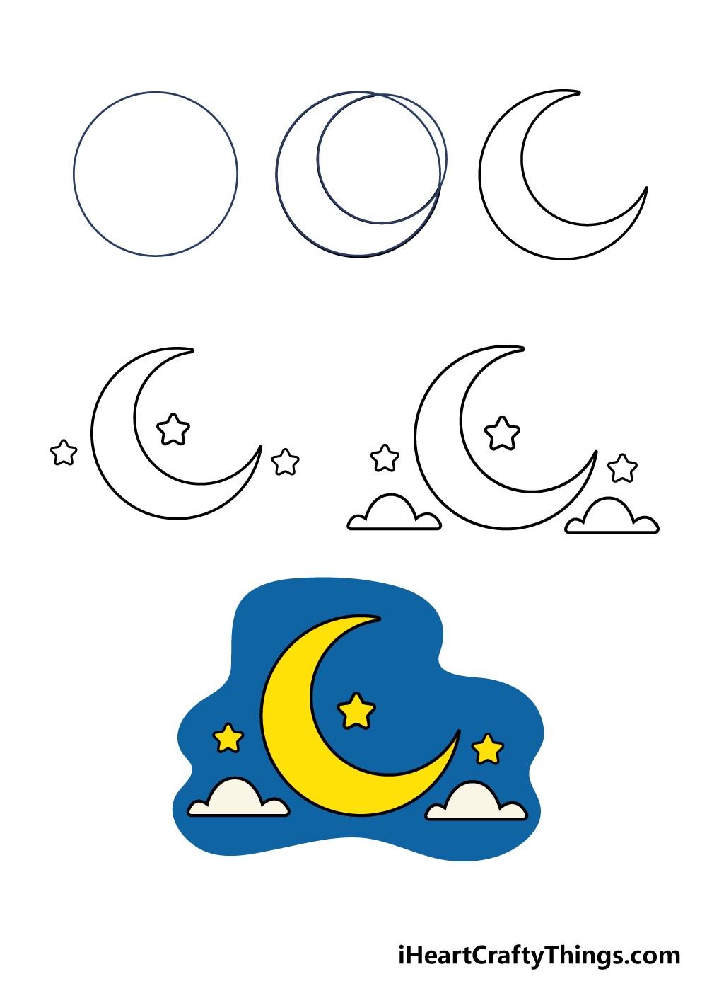 how to draw a moon in 6 steps