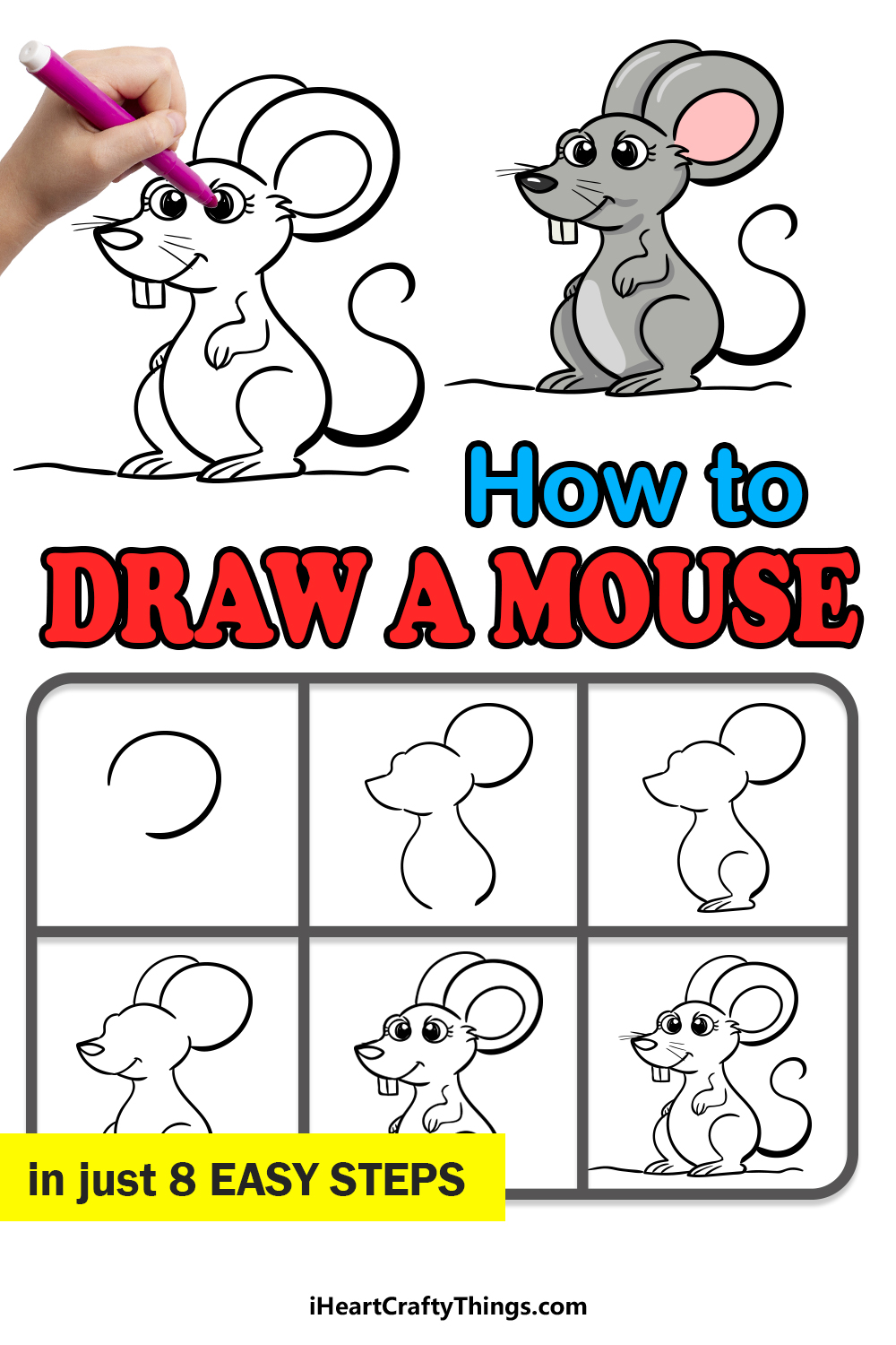 how to draw a mouse in 8 easy steps