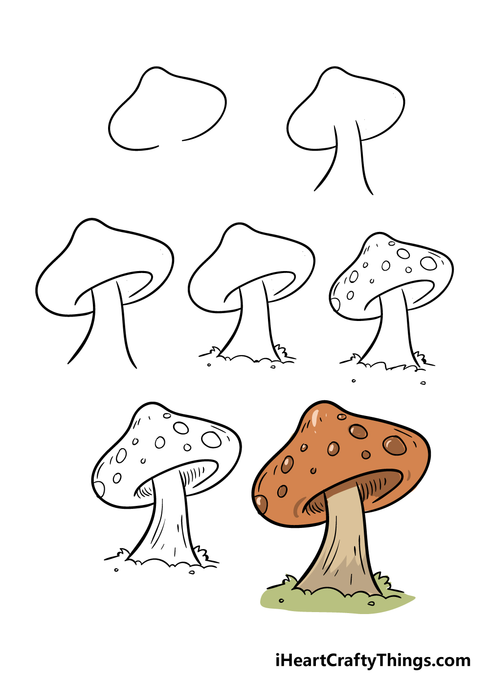 how to draw mushroom in 7 steps