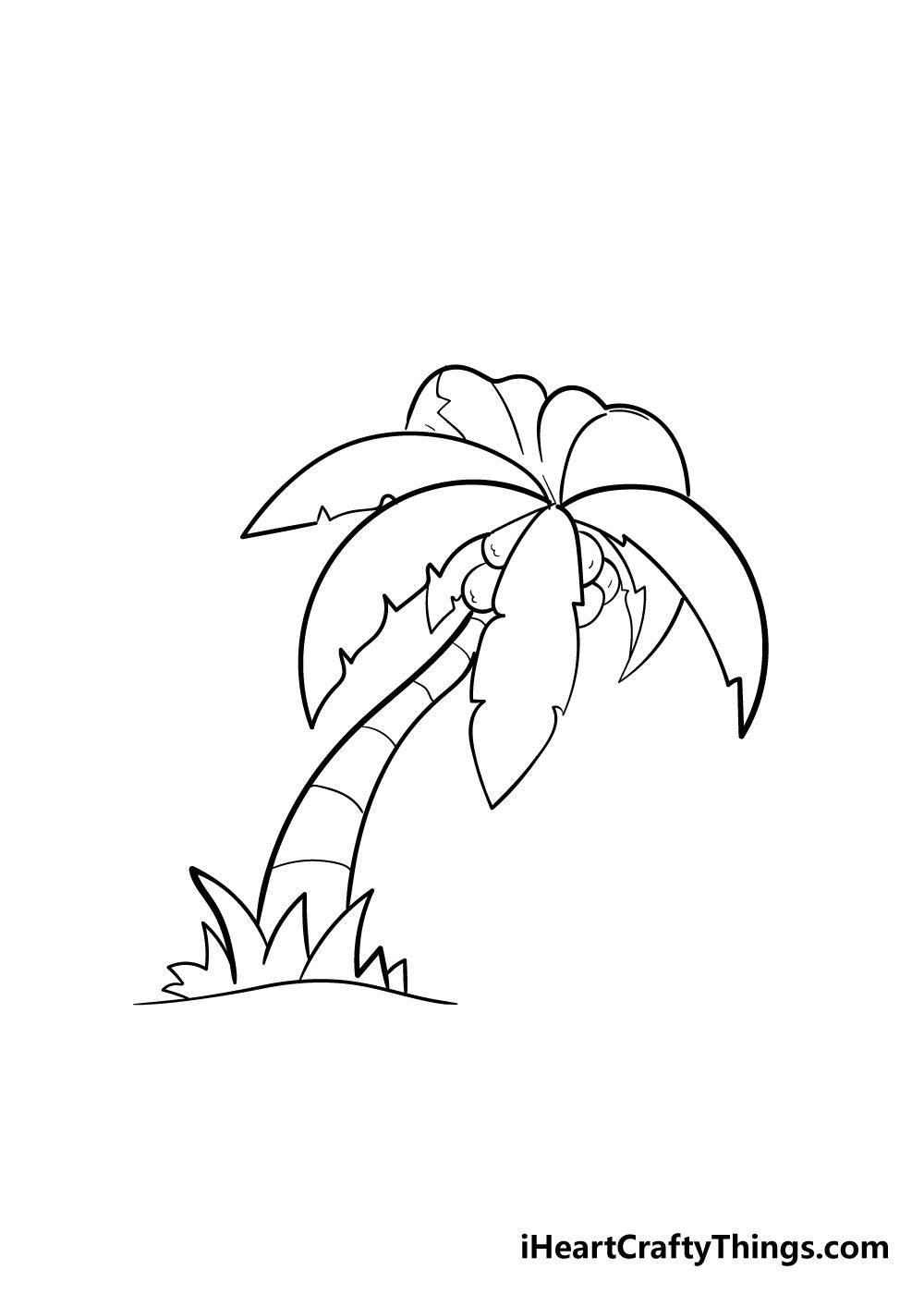 palm tree drawing step 6