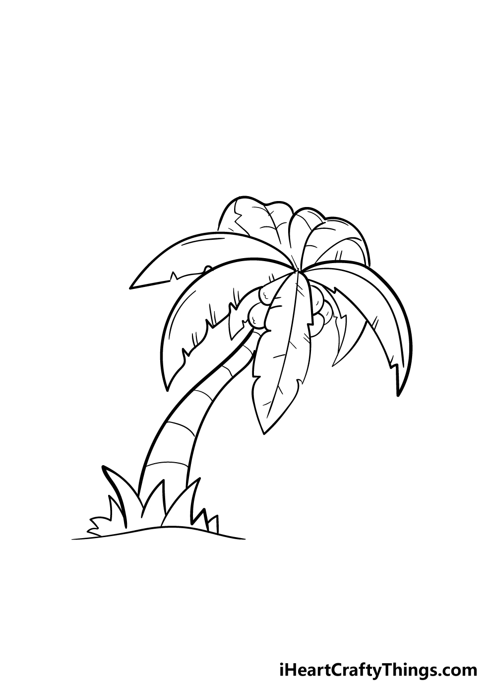 palm tree drawing step 7