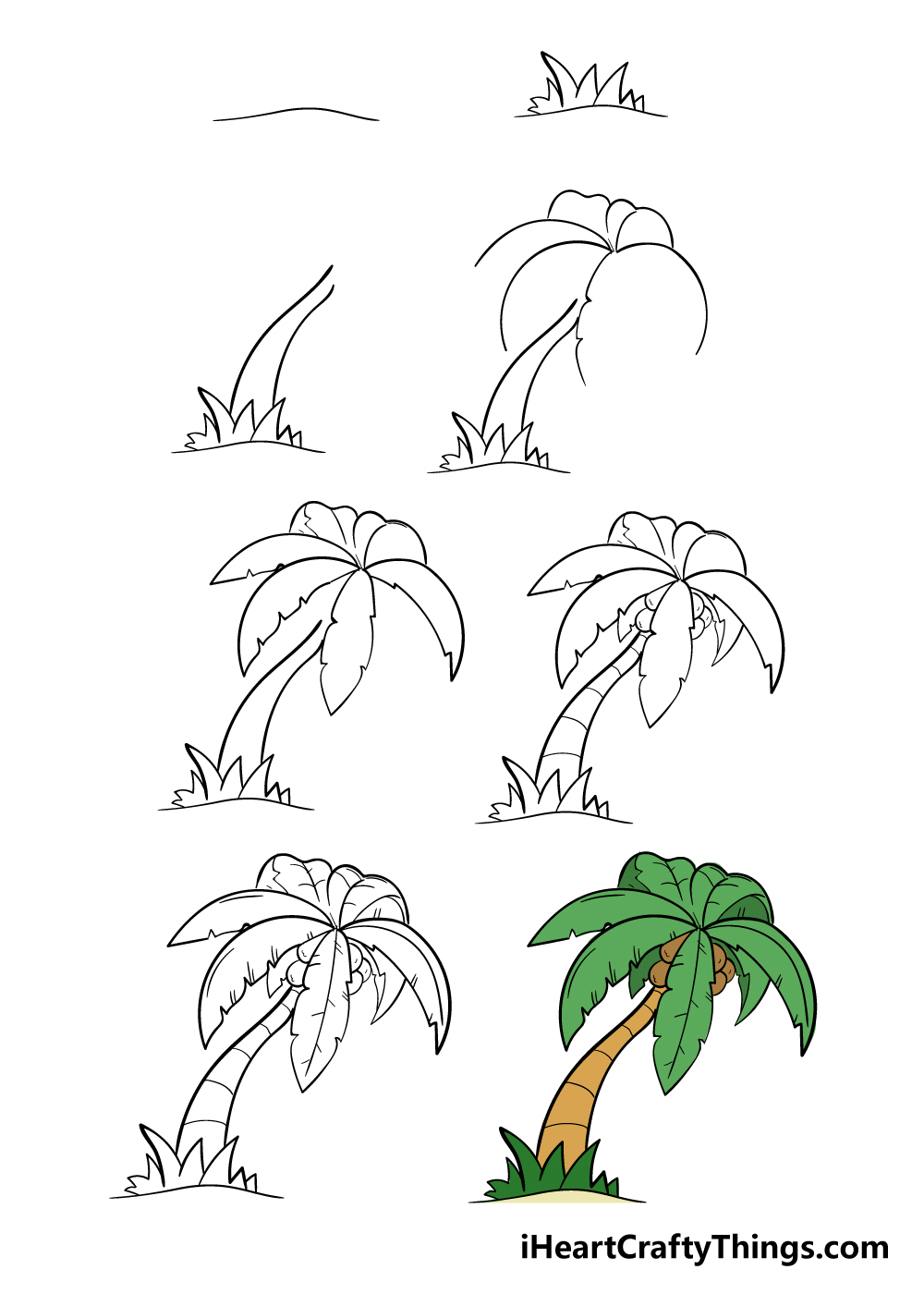 how to draw palm tree in 8 steps