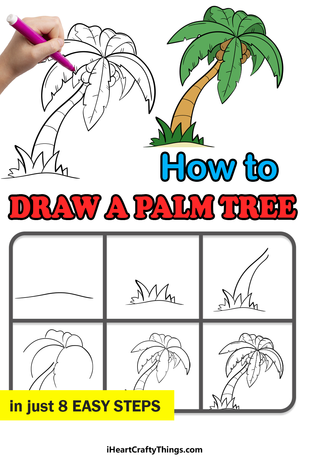 how to draw a palm tree in 8 easy steps
