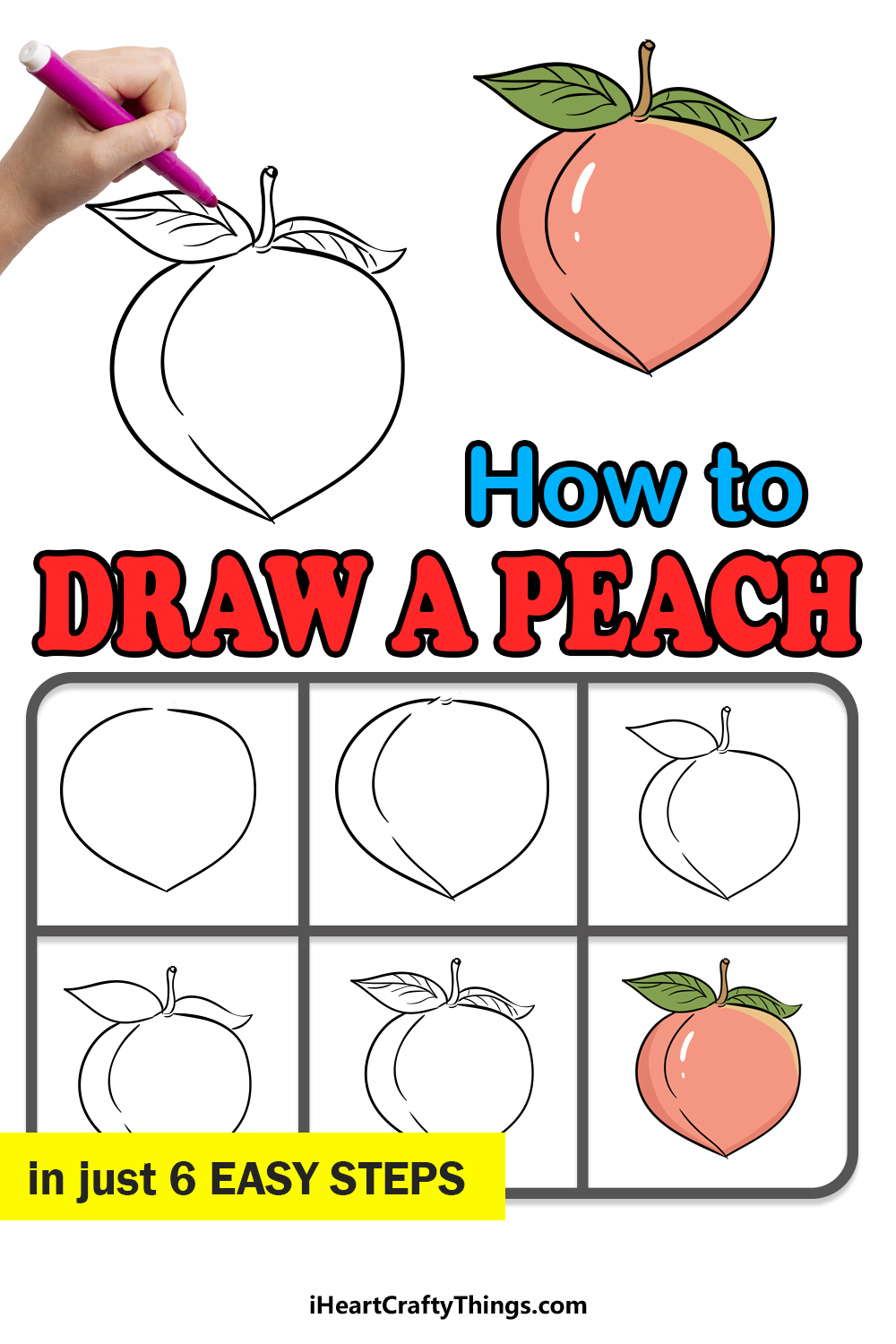 how to draw a peach in 6 easy steps