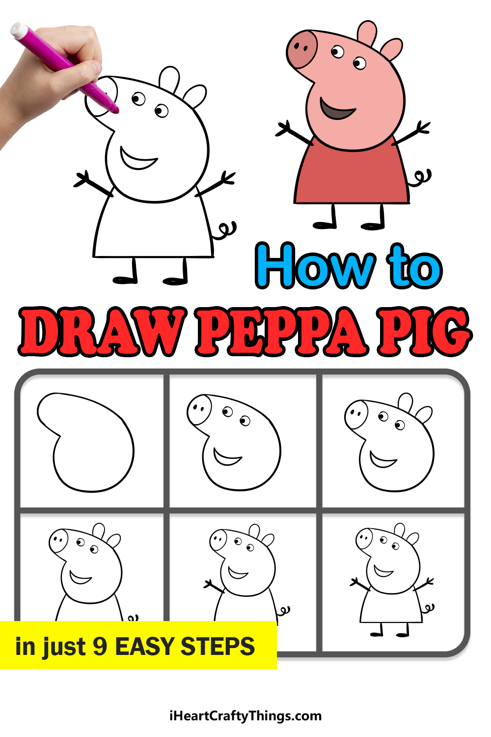 how to draw a peppa pig in 9 easy steps