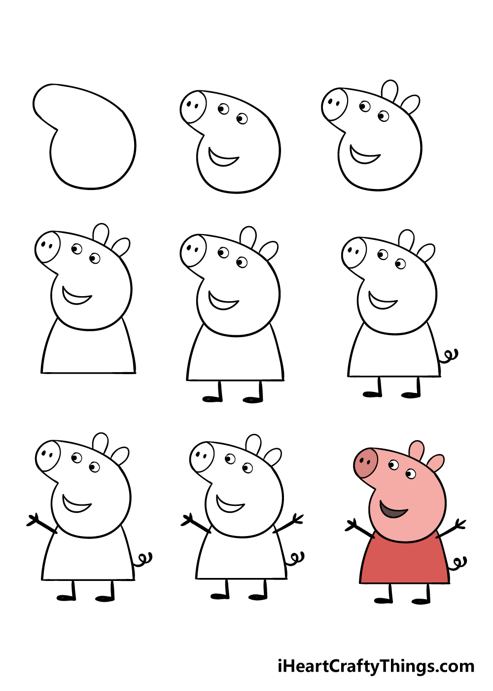 how to draw peppa pig in 9 steps